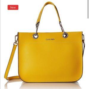 NWT Calvin Klein Sandra Goat Leather Boxy Satchel